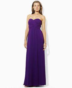 Lauren by Ralph Lauren Dress, Strapless Evening Gown - Womens Dresses - Macy's