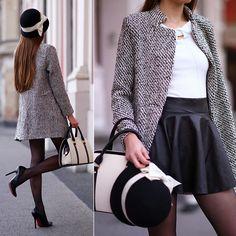 Ariadna Majewska - Black And White Coat, White Top - Black and white   LOOKBOOK