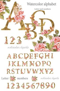 Rose Clipart, Flower Clipart, Art Clipart, Gold Letters, Letters And Numbers, Kid Fonts, Party Labels, Envelope Lettering, Craft Stickers