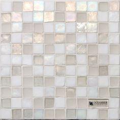 """Veil"" mosaic blend iridescent glass tile, by Oceanside glass tile. Glass Tile Backsplash, Glass Mosaic Tiles, Kitchen Backsplash, Boarder Designs, Bathroom Inspiration, Bathroom Ideas, Bathroom Inspo, Bathroom Furniture, Wall And Floor Tiles"