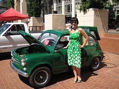 Green Dress Fiamp - Love this cute little electric Fiat.