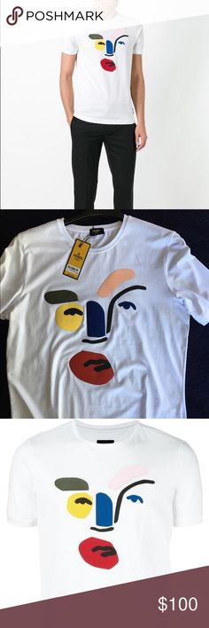 FENDI  abstract face T-shirt This white T-shirt from Fendi is defined by its Matisse-like abstract face print in an array of bold colours, lending this summer wardrobe staple a contemporary edge. Spun from the finest cotton jersey, it features a round neck, short sleeves and is finished with a straight hem. Sizes; L - XL - XXL Fendi Shirts Tees - Short Sleeve