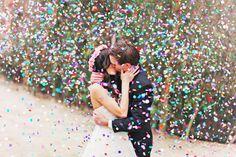 bride & groom confetti kiss; Priscila Valentina Photography