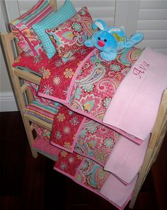 Pretty TRIPLE Doll Bunk Bed Separates with Pink/Teal Paisley Quilt Personalized Bedding for American Girl, Bitty Baby Waldorf Dolls. $199.50, via Etsy.