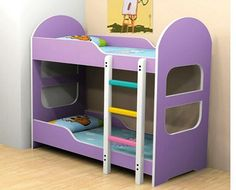 """Bunk Bed SB 002  This bunk bed is designed for use by children below 10 years and height below 54"""". Overall size is 62""""x32"""" and total height is 60"""". The lower bed is 12"""" above ground and upper bed is 48"""" above ground. A sturdy ladder affixed provides access to the upper bed. Made in 16mm HDF. Not in store. Requires lead time of 45 days to manufacture. Colours can be changed. Price : Rs.30,300  Mattress is extra. Please email for prices. visit http://kidsfurnitureworld.in/bunk-beds.html"""
