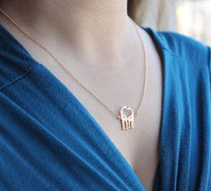 """Dainty Giraffes in Love Pendant Necklace, in Choice of 16"""" or 18"""" chain + lobster clasp, 18k Gold Plated or Silver Plated Finish"""