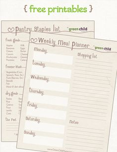 Printable meal planner sheets- this will come in handy soon!