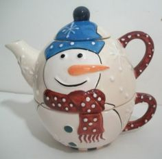 Bella Casa by Ganz Tea for One 3 PC Stacking Ceramic Tea Pot Snowman Snowflakes | eBay