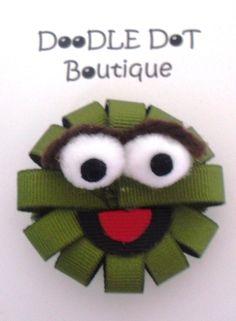 DoodleDotBoutique : Sesame Street Oscar The Grouch Hair Bow Infant Toddler Ribbon Hair Clips, Hair Ribbons, Ribbon Art, Diy Hair Bows, Diy Ribbon, Ribbon Crafts, Flower Hair Clips, Ribbon Bows, Ribbon Projects