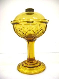 ANTIQUE LOMAX AMBER STAND OIL LAMP WITH OIL GUARD |