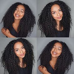 """Fyonas Afro Kinky Curly Wave Wig Brazilian Virgin Remy Human Hair Wigs with Baby Hair Pre Plucked Hairline Glueless Lace Front Wigs for Black Women (130% Density,Lace Front Wig,16"""" Natural Color) * Want additional info? Click on the image. (This is an affiliate link and I receive a commission for the sales)"""