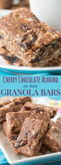 Cherry Chocolate Almond No-Bake Granola Bars - an easy recipe for a healthy snack to pack in a lunchbox that will also satisfy a sweet tooth. Gluten free and dairy free. | cupcakesandkalechips.com