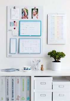 Family Command Centre: Step One //  Choose a suitable location for your command centre. These work well in high traffic areas – you could turn the end of a kitchen cupboard into a command centre by using the surface to hang planners, calendars and hold documents in upright storage options. The hallway is another great place for a command centre. If you've already created a Launch Pad for your children, you could also extend this to encompass your Command Centre needs. Click for more. x