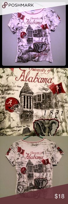 University of Alabama Women's Gameday Shirt Top  EUC Women's adult size small University of Alabama screenprint crewneck tee with front bling embellishments! Features football-themed and Capstone traditional imagery, including an Alabama flag, a football helmet, logos, Denny Chimes, the university seal, Gorgas House, the football field, and lyrics to Yea Alabama! Duplicate screenprint on reverse but without rhinestones. In very nice used condition. No trades/holds. P. Michael Tops Tees…