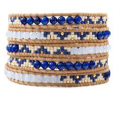 Lapis Mix Beaded Wrap Bracelet on Beige Leather - Chan Luu Bead Loom Bracelets, Beaded Wrap Bracelets, Beaded Earrings, Bangle Bracelets, Beaded Jewelry, Crochet Bracelet, Pandora Bracelets, Handmade Jewelry, Stud Earrings