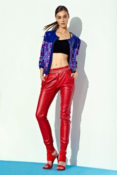Abstract Patterned Jacket, Black Bra Top, Faux Leather Harem Pants
