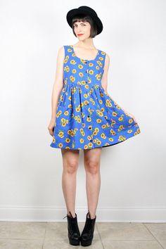 Vintage Sunflower Dress Mini Dress 1990s Dress Babydoll Dress Soft Grunge Dress 90s Dress Cobalt Blue Yellow Sunflowers Sundress M L Large #vintage #etsy #90s #1990s #dress #mini #sunflower #sunflowers #babydoll #jumper #sundress #grunge #softgrunge #skater #minidress