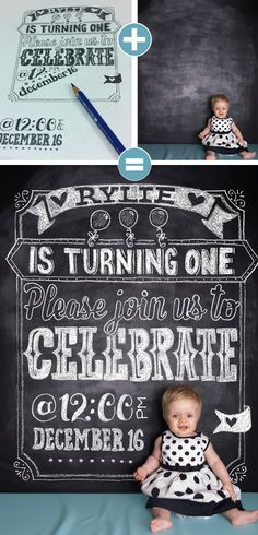 First Birthday Chalkboard Invitation