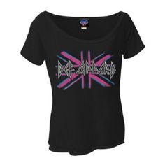 Def Leppard Pink Union Jack Junior's Dolman T-Shirt - Bring out the heartbreak in this Def Leppard Pink Union Jack T-Shirt featuring the pink logo on a junior's dolman style shirt.