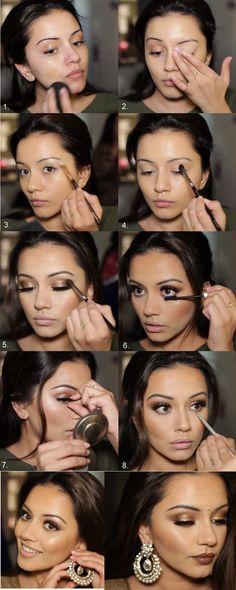 Golden & Bronze Makeup Tutorial – Diwali Makeup – Beauty Make up Styles Indian Girl Makeup, Indian Makeup Natural, Indian Makeup Looks, Indian Wedding Makeup, Bridal Makeup Looks, Natural Wedding Makeup, Hippie Makeup, Edm, Indian Makeup Tutorial