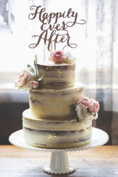 Distillery District Brunch Wedding, Toronto Canada, Naked Cake with gold flaking by Agouti