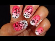 Stamping & Gradient Nail Art   Moyou London Stamping Review - YouTube