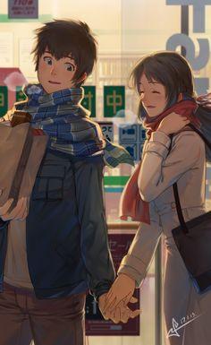 Beautiful Of Manga Girl - Jutaan Gambar Kimi No Na Wa, Anime Cupples, Anime Films, Kawaii Anime, Anime Art, Anime Couples Drawings, Cute Anime Couples, Makoto Shinkai Movies, Your Name Wallpaper