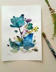 Original watercolor painting floral watercolor por VictoriAtelier