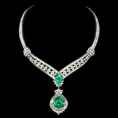 Elizabeth Taylor Masterpiece 91.78ct Columbian Emerald and Diamond necklace she personally designed.