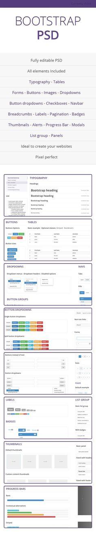 PSD con todos los elementos de Bootstrap 3