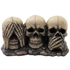 No Evil Skulls Figurine for Scary Halloween Decorations and Spooky Skeleton Statues Medieval Fantasy Home Decor Sculptures and Gothic Gifts >>> You can get additional details at the image link. (This is an affiliate link) Scary Halloween Decorations, Halloween Home Decor, Halloween Party, Halloween 2015, Halloween Ideas, Skull Decor, Skull Art, Skull Head, Zombies