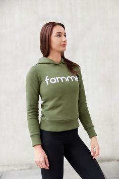 Khaki Majuscule hoodie from Famme Hoodies, Sweatshirts, Casual Wear, Custom Made, Graphic Sweatshirt, Fabric, Sweaters, Cotton, How To Wear
