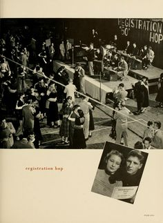 "Athena Yearbook, 1951. ""Freshman Week had its lighter moments as upperclassmen extended a warm welcome to those unfamiliar with our campus. OU's reputation as a friendly school was soon proved."" :: Ohio University Archives"