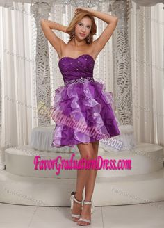 Perfect Sweetheart Purple Organza 5th Grade Graduation Dress with Ruffles