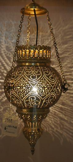 pierced brass indian hanging lamp