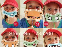 Free shipping,6 style DIY Photo booth Prop,Monsters Masks,on sticks Child baby shower Birthday Party props Decorations 30pcs/lot