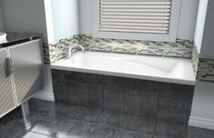 alcove tub with tile front - faucet will be mounted on the back (center of tub) Using the Arabesque tile on the front