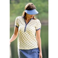 2013 Glenmuir Ladies Tillie Forget Me Not Print Cotton Golf Polo Shirt.