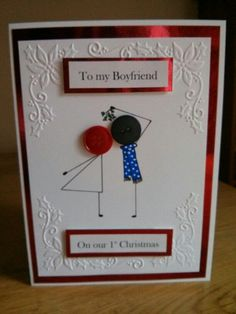 1st Christmas card for boyfriend with button stick people under mistletoe