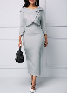 Rosewe Women Dress Grey Sheath Midi Three Quarter Sleeve Light Grey Top and Back Slit Dress Women's Fashion Dresses, Sexy Dresses, Casual Dresses, Slit Dress, Sheath Dress, Black Dress With Sleeves, Dresses With Sleeves, Red High Low Dress, Bodycon