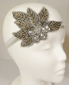 Art Deco Headband Ready to Ship Silver Leaf by BellaCescaBoutique