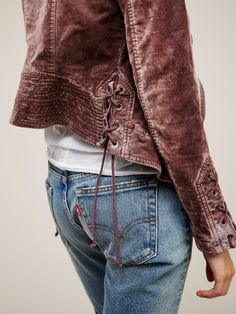 Lacey Velvet Jacket | Lovely washed velvet jacket with pretty lace-up details on…