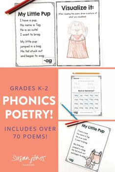 This phonics poetry unit includes 79 different phonics poems that focus on different word families, phonemes, and/or phonics patterns. Each word family or phoneme has a simple, original poem written by me, a visualization page, and a practice page for students to record their words and practice real vs. nonsense words! Download the preview to see more!   #Firstgradepoetry #secondgradepoetry #kindergardenpoetry #poetryactivities