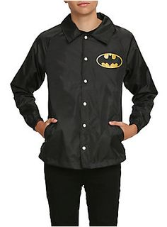 "Black windbreaker jacket with a Batman long on the front and ""Batman"" on the back. Button-up closure and two front pockets.<ul><li> 100% polyester</li><li>Wash cold; dry low</li><li>Imported</li><li>Listed in men's sizes</li></ul>"