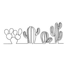 Cactus Drawing, Cactus Painting, Plant Drawing, Drawing Flowers, Single Line Drawing, Continuous Line Drawing, Single Line Tattoo, Art Blanc, Illustration Blume