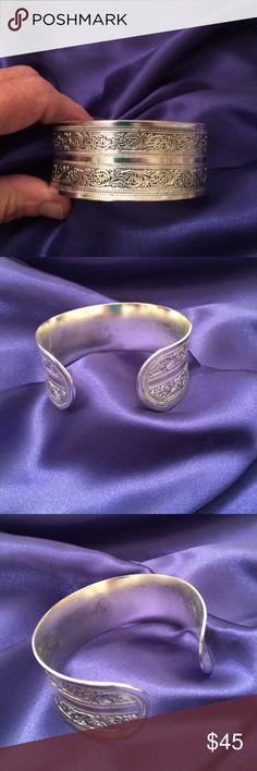 "New Tibetan Tibet Silver Cuff Bracelet Tibetan Tibet Silver Totem Bangle Cuff Bracelet, 1"" wide Tibet Jewelry Bracelets"