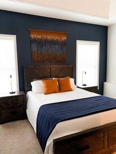 Burnt Orange Bedroom, Dark Blue Bedrooms, Navy Bedrooms, Blue Rooms, Navy Master Bedroom, Dark Blue Bedroom Walls, Orange Bedroom Decor, Blue And Orange Living Room, Guest Bedroom Colors