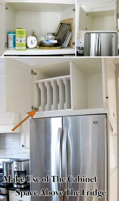 In Order To Make Full Use of The Cabinet Space Above The Fridge, You Can Add Some Dividers to It #smallspace #kitchenremodeling #storage