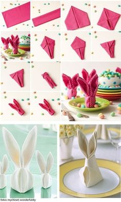 Páscoa na Mesa – Diy para complementar a mesa posta – - Herzlich willkommen Bunny Napkin Fold, Napkin Folding, Ostern Party, Diy Ostern, Diy Y Manualidades, Easter Table Decorations, Easter Table Settings, Diy Decoration, Easter Crafts