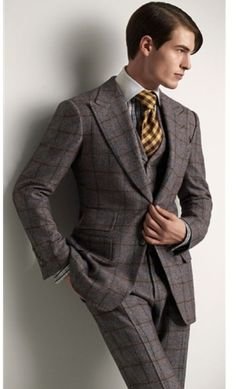 Tweed Three Piece Windowpane Suit w/ Plaid Tie